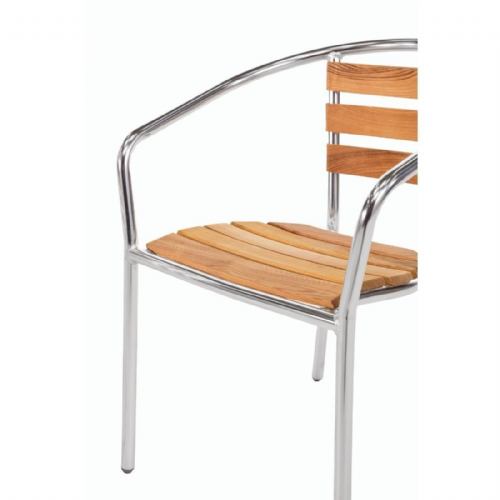 Bolero Aluminium and Ash Chairs (Pack of 4) - U421
